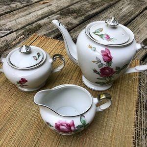 Vintage Kutani Rose Coffee/Tea Pot Creamer & Sugar